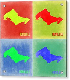 Honolulu Pop Art Map 2 Acrylic Print