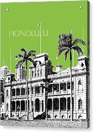 Honolulu Skyline Iolani Palace - Olive Acrylic Print by DB Artist