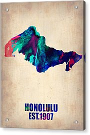Honolulu Watercolor Map Acrylic Print by Naxart Studio