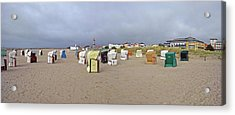 Hooded Beach Chairs On The Beach Acrylic Print by Panoramic Images