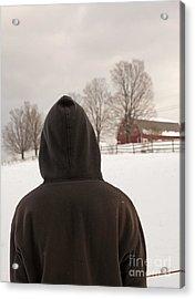 Hooded Boy At Farm In Winter Acrylic Print by Edward Fielding