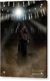 Hooded Man Holding Glowing Wizard Staff  Acrylic Print