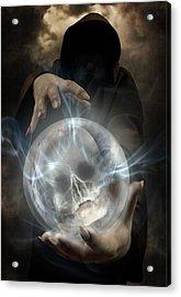Hooded Man Wearing Dark Cloak Holding Glowing Crystall Ball With Human Skull Image Inside Acrylic Print by Jaroslaw Blaminsky