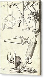 Hooke's Microscope And Equipment Acrylic Print by Royal Institution Of Great Britain