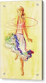 Acrylic Print featuring the painting Hoop Dance by Angelique Bowman