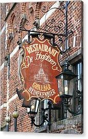 Hoorn Restaurant Sign Acrylic Print by Carol Groenen