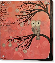 Hoo's Who Care - Find The Cure - Support Breast Cancer Awareness - Hoolandia #383 Acrylic Print
