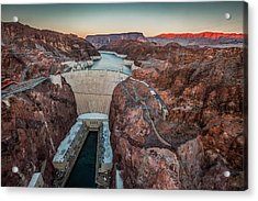 Hoover Dam At Dusk Elevated View Acrylic Print by Bob Stefko
