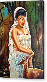 Acrylic Print featuring the painting Hopeful Heart - Sakunthala Waits For Dushyant by Ragunath Venkatraman