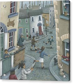 Hopscotch Down The Hill Acrylic Print by Peter Adderley