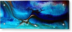 Horizontal Abstract Art Just Blue By Kredart Acrylic Print