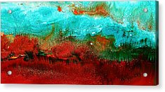 Horizontal Panoramic Abstract Art - Burning Meadows By Kredart Acrylic Print