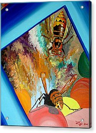 Acrylic Print featuring the painting Hornets by Daniel Janda