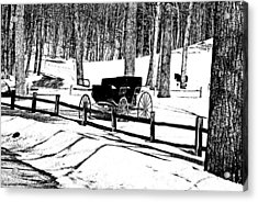 Horse And Buggy - No Work Today A Black And White Abstract Acrylic Print by Janice Adomeit