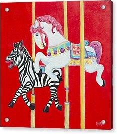 Horse And Zebra Carousel Acrylic Print