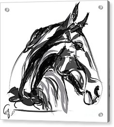 Horse- Apple -digi - Black And White Acrylic Print by Go Van Kampen