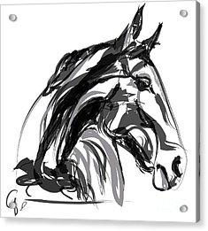 Horse- Apple -digi - Black And White Acrylic Print