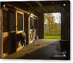 Acrylic Print featuring the photograph Horse Barn Sunset by Edward Fielding