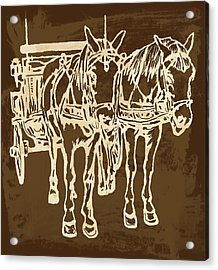 Horse Carriage - Stylised Pop Modern Etching Art Portrait - 1 Acrylic Print by Kim Wang