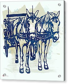 Horse Carriage - Stylised Pop Modern Etching Art Portrait Acrylic Print by Kim Wang
