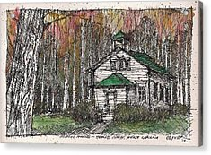 Acrylic Print featuring the mixed media Horse Cove School by Tim Oliver