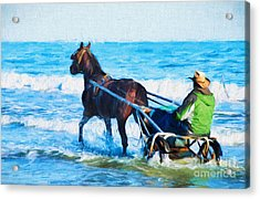 Horse Drawn Carriage In The Ocean Digital Art Acrylic Print by Vizual Studio