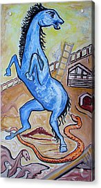 Horse  Frightend By A Snake Acrylic Print