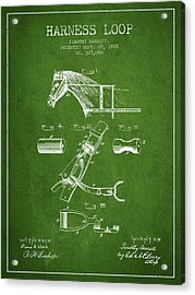 Horse Harness Loop Patent From 1885 - Green Acrylic Print by Aged Pixel