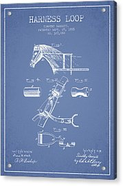 Horse Harness Loop Patent From 1885 - Light Blue Acrylic Print by Aged Pixel