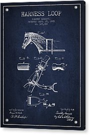 Horse Harness Loop Patent From 1885 - Navy Blue Acrylic Print by Aged Pixel