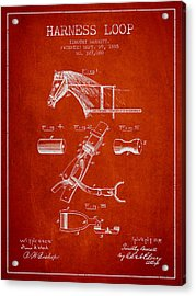Horse Harness Loop Patent From 1885 - Red Acrylic Print by Aged Pixel