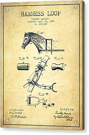 Horse Harness Loop Patent From 1885 - Vintage Acrylic Print by Aged Pixel