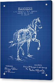 Horse Harness Patent From 1885 - Blueprint Acrylic Print by Aged Pixel