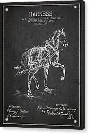 Horse Harness Patent From 1885 - Charcoal Acrylic Print by Aged Pixel