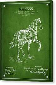 Horse Harness Patent From 1885 - Green Acrylic Print by Aged Pixel