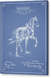 Horse Harness Patent From 1885 - Light Blue Acrylic Print by Aged Pixel