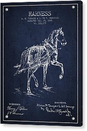 Horse Harness Patent From 1885 - Navy Blue Acrylic Print by Aged Pixel