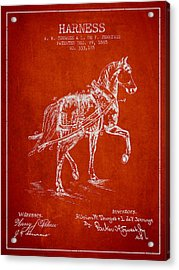 Horse Harness Patent From 1885 - Red Acrylic Print by Aged Pixel