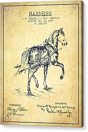 Horse Harness Patent From 1885 - Vintage Acrylic Print by Aged Pixel