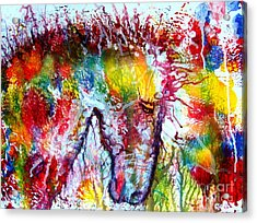Horse In Abstract Acrylic Print by Anastasis  Anastasi
