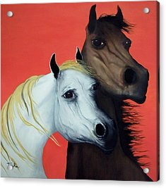 Horse Lovers In Red  Sold Acrylic Print by Patrick Trotter