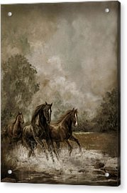 Horse Painting Escaping The Storm Acrylic Print