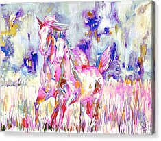 Horse Painting.16 Acrylic Print by Fabrizio Cassetta