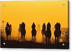 Horse Racing Against Clear Orange Sky Acrylic Print by Bob Mccaffrey / Eyeem