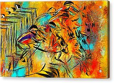 Horse Racing Colorful Abstract  Acrylic Print by Lourry Legarde