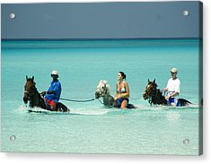 Horse Riders In The Surf Acrylic Print by David Smith