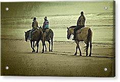 Acrylic Print featuring the photograph Horseback Riding On The Beach by Thom Zehrfeld