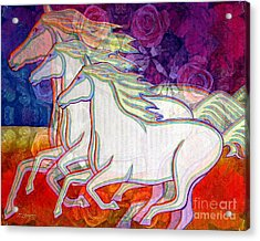 Horse Spirits Running Acrylic Print by Joseph J Stevens