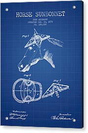 Horse Sunbonnet Patent From 1870 - Blueprint Acrylic Print by Aged Pixel