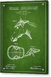 Horse Sunbonnet Patent From 1870 - Green Acrylic Print by Aged Pixel